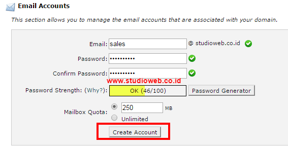 cPanel X Email Accounts