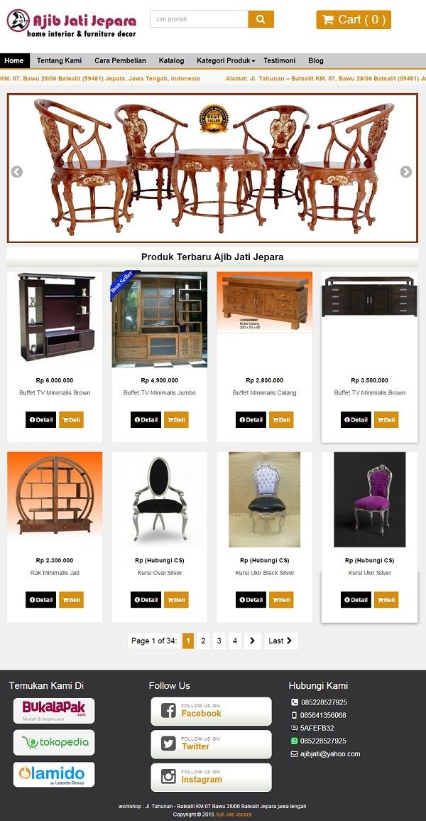 Redesign Toko Online Furniture Produsen Furniture Jati Jepara